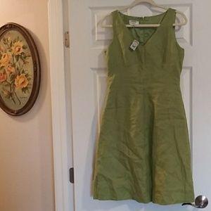 Talbots linen lime green dress